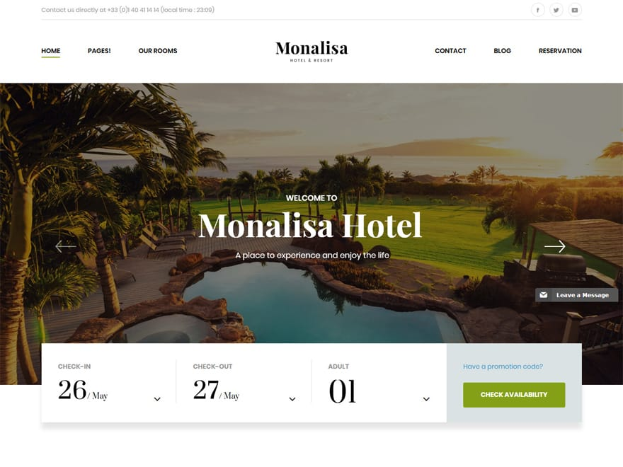 Monalisa-Best Premium Hotel and Resort WordPress Themes