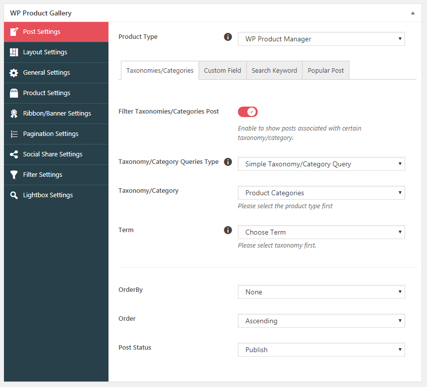 wp product gallery post settings