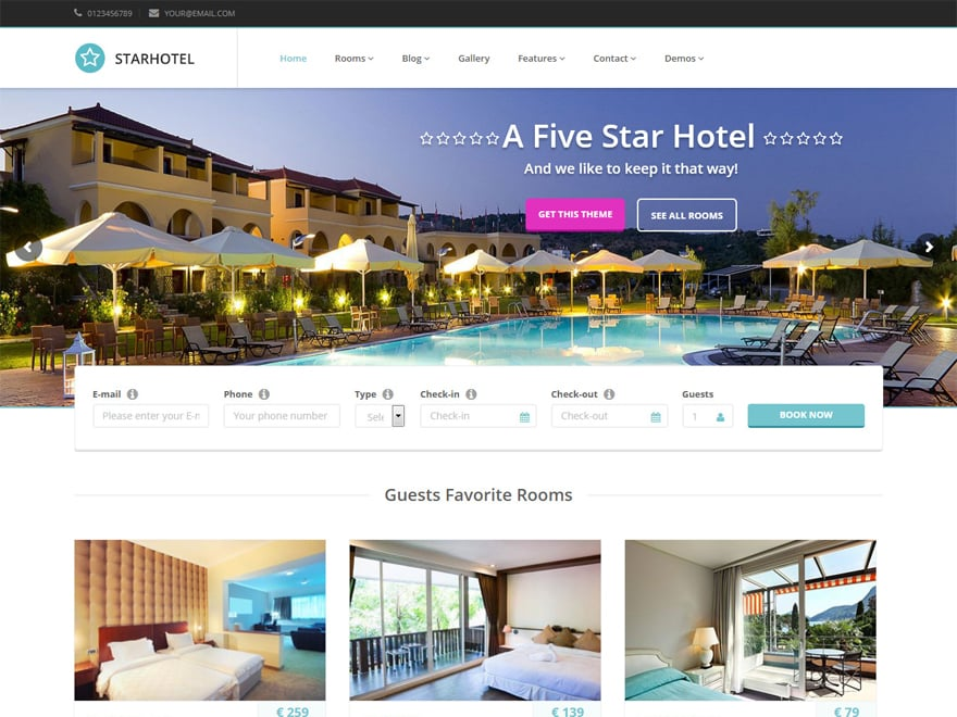 Starhotel-Best Premium Hotel and Resort WordPress Themes