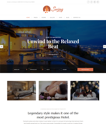 Resort and Hotel WordPress Theme – Swing
