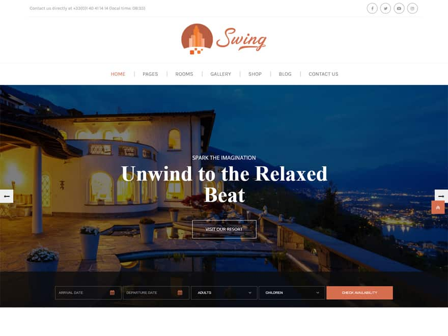 Swing-Best Premium Hotel and Resort WordPress Themes