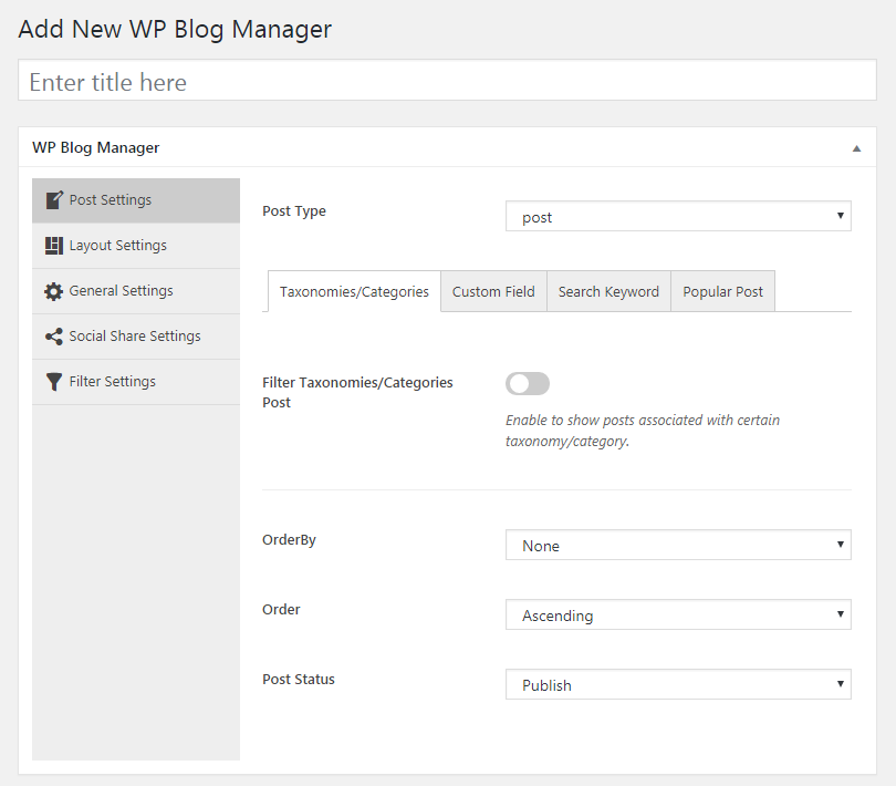 wp blog manager builder page