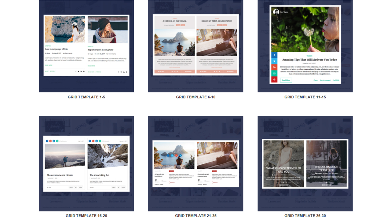 wp blog manager grid layout
