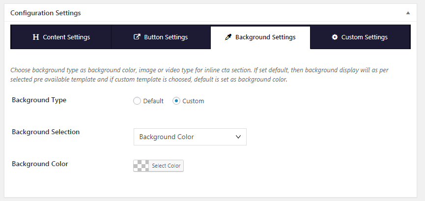 Inline CTA Builder Lite Background Color Settings