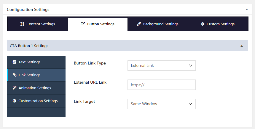 Inline CTA Builder Lite Button External Settings