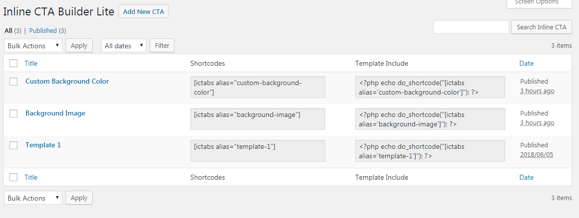 Inline CTA Builder Lite All Lists Page