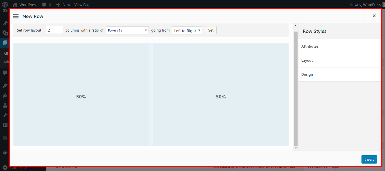 set rows in homepage