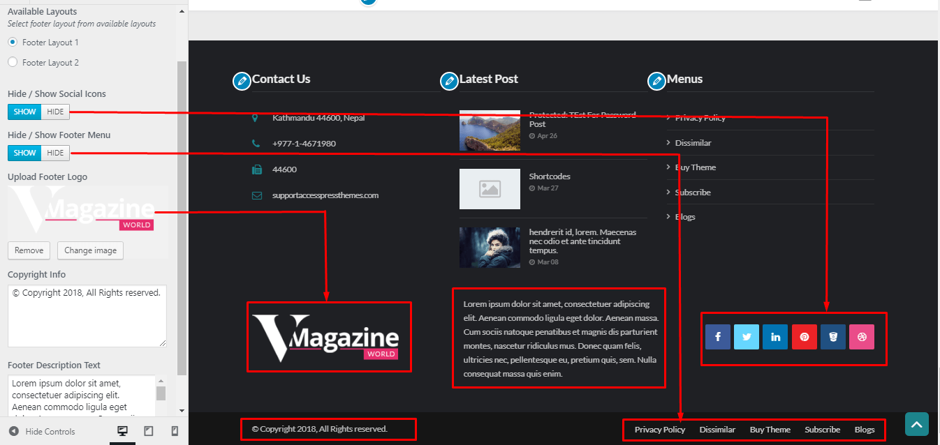 vmagazine customization options footer option