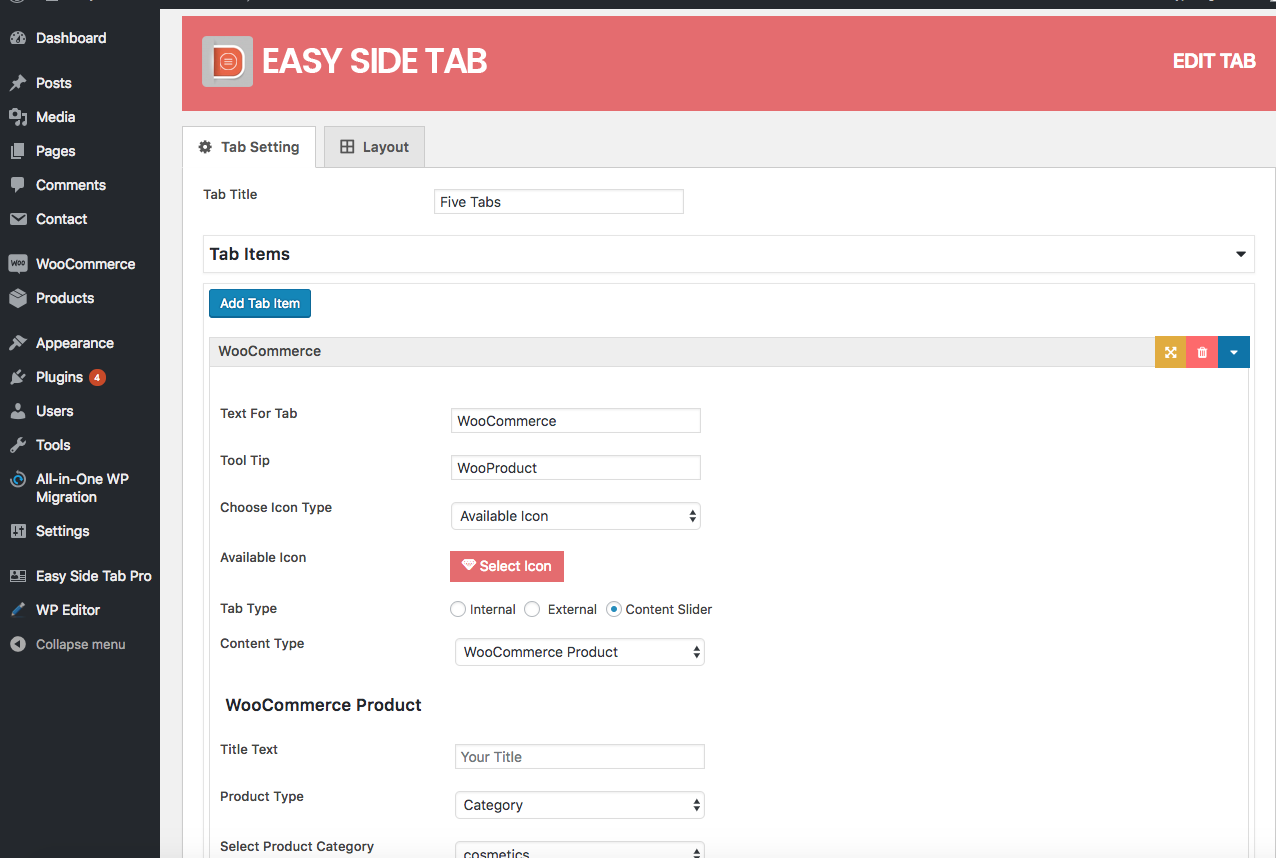 Configuration of a floating side tab plugin for WordPress