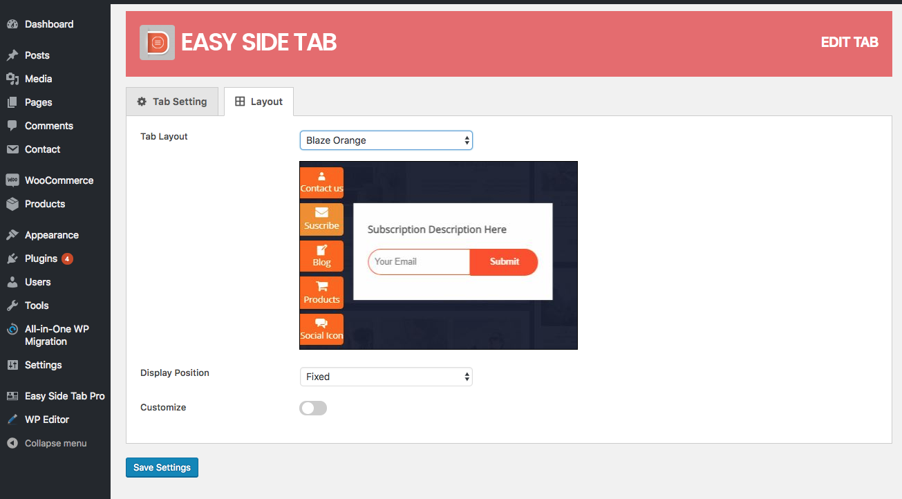 Setting up of a floating side tab plugin for WordPress