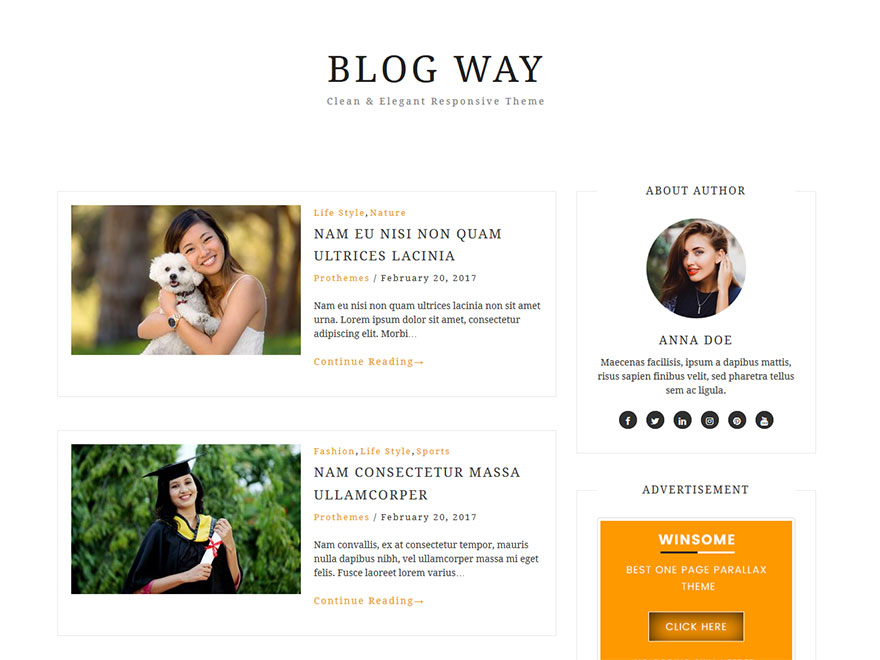 Blog Way - Most Popular WordPress Blog Themes and Templates (Free)