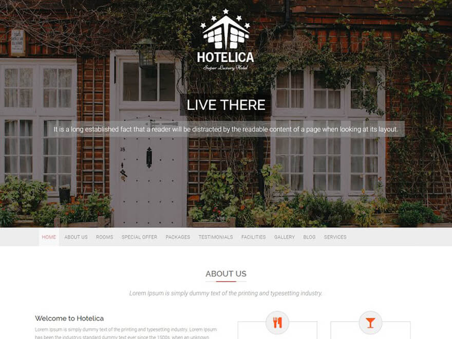 Hotelica - Best Hostel Resort Free WordPress Themes (Hospitality Templates)