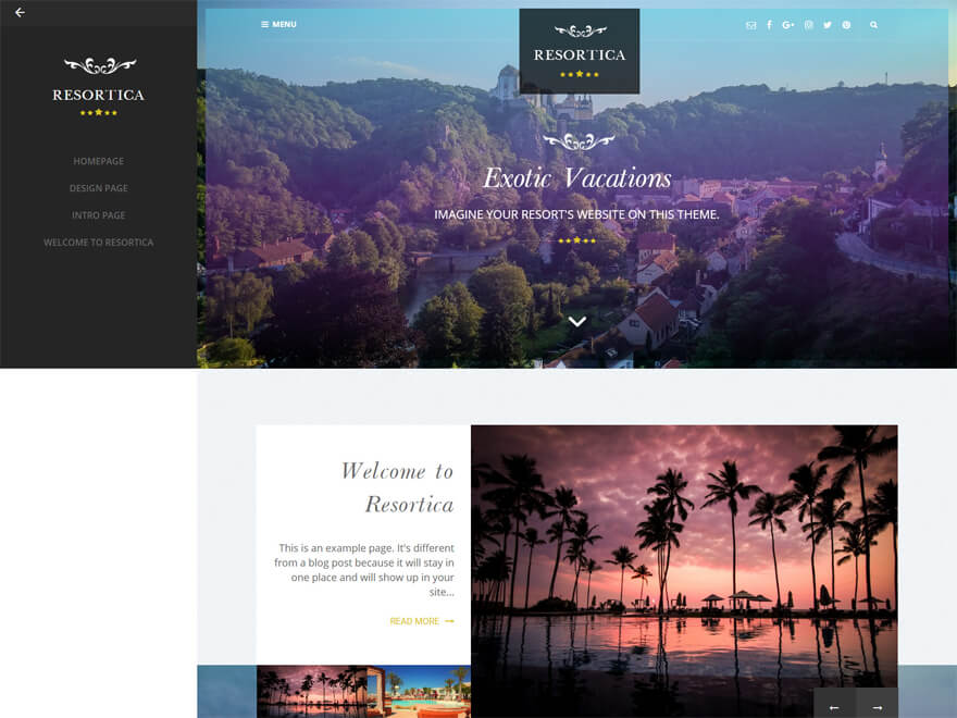 Resortica - Best Hostel Resort Free WordPress Themes (Hospitality Templates)