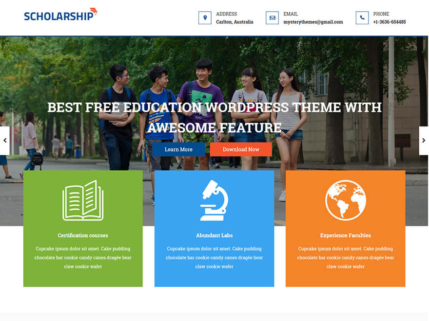 Scholarship - Best Free Education WordPress Themes and Templates