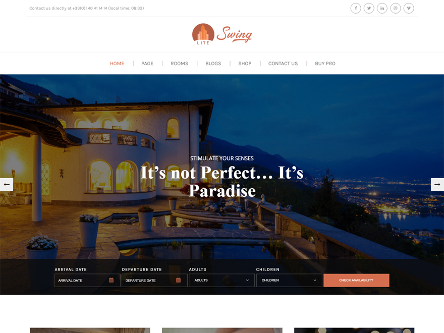 Swing Lite - Best Hostel Resort Free WordPress Themes (Hospitality Templates)