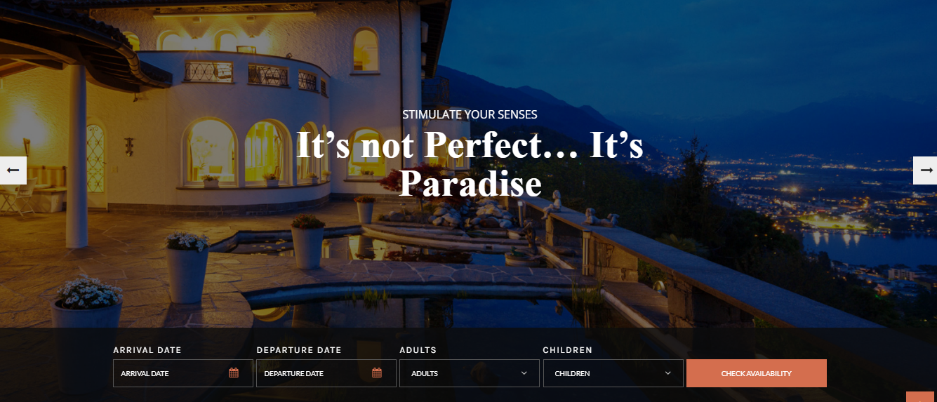 swing resort and hotel wordpress theme homepage sections