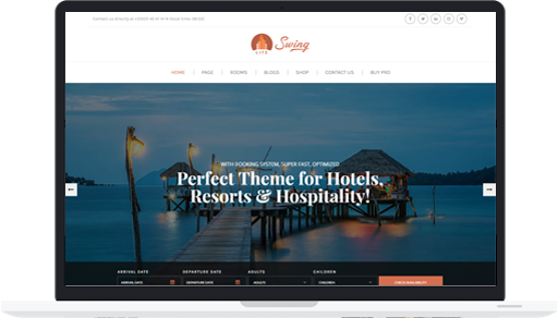 Free Hotel and Resort WordPress Theme – Swing Lite