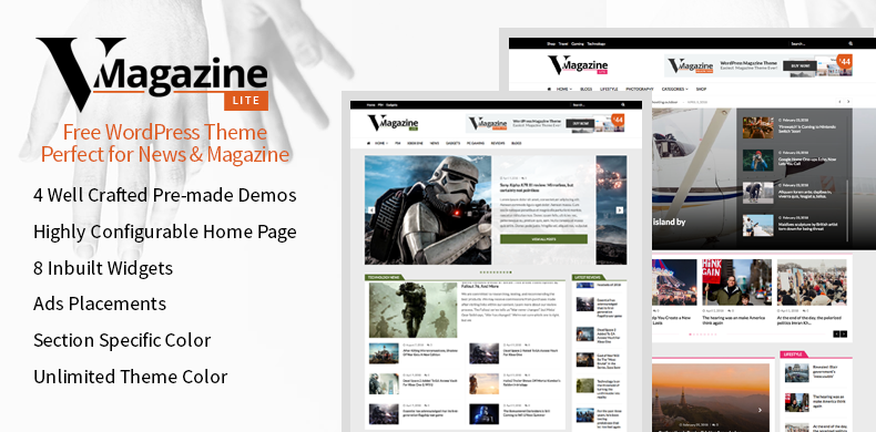 Free Multi Layout News and Magazine WordPress Theme – VMagazine Lite