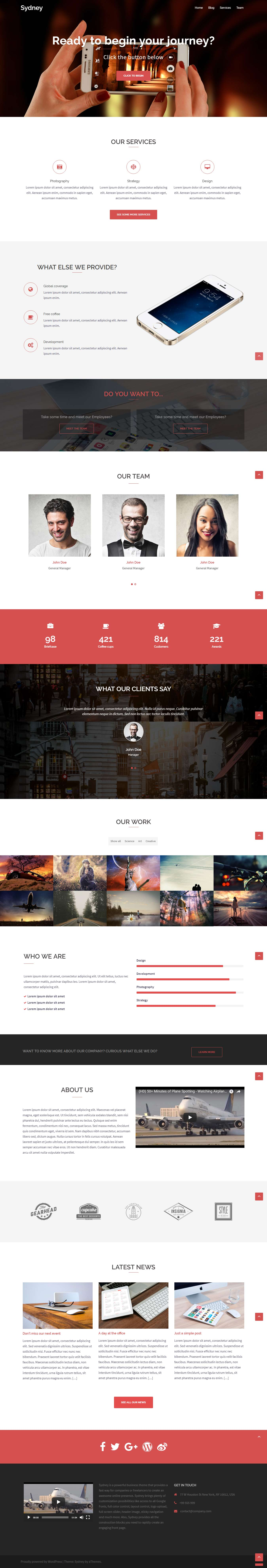 Sydney - Best Free Portfolio WordPress Themes