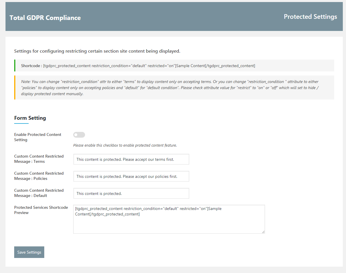 Total GDPR Compliance Protected Contents
