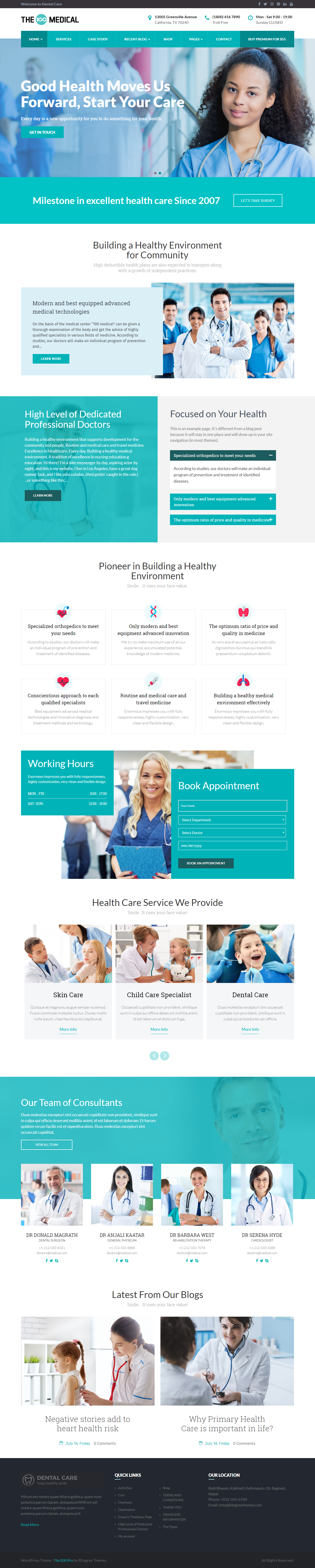 The100 Pro- Best Premium Hospital WordPress Theme