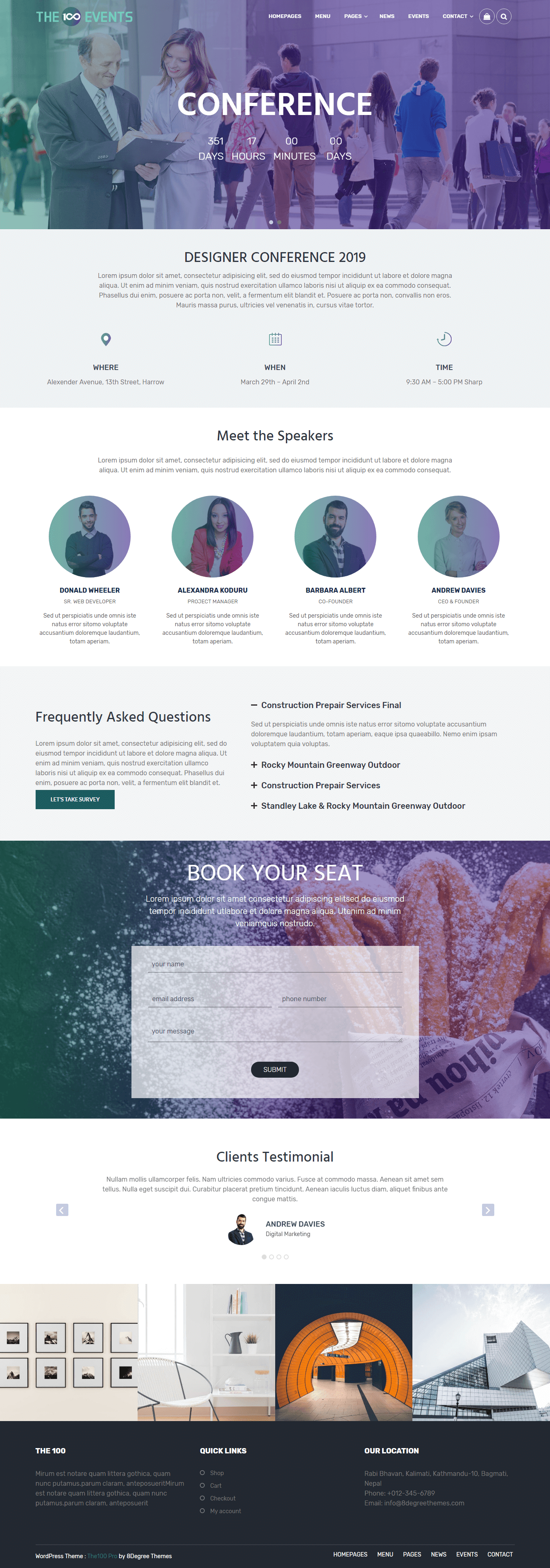 the100 pro clean and elegant multipurpose theme events demo