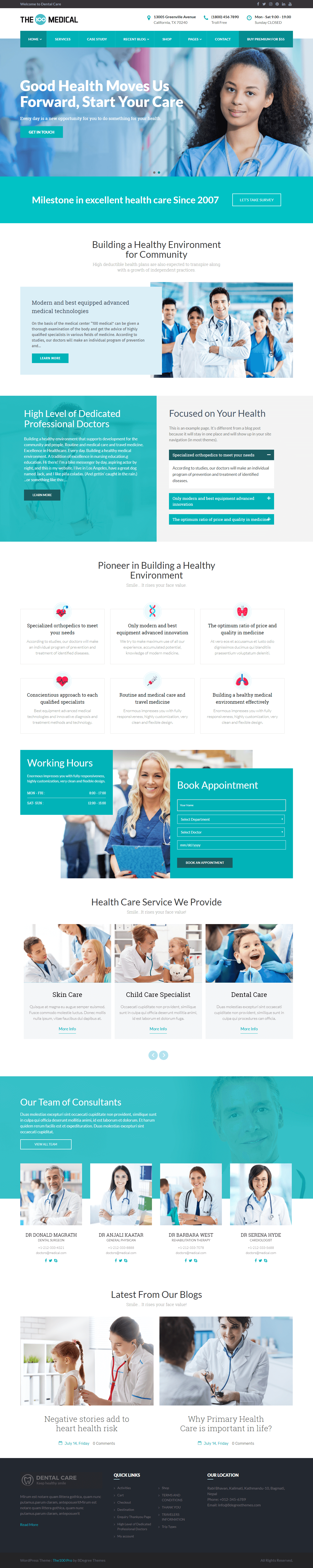 the100 pro clean and elegant multipurpose theme medical demo