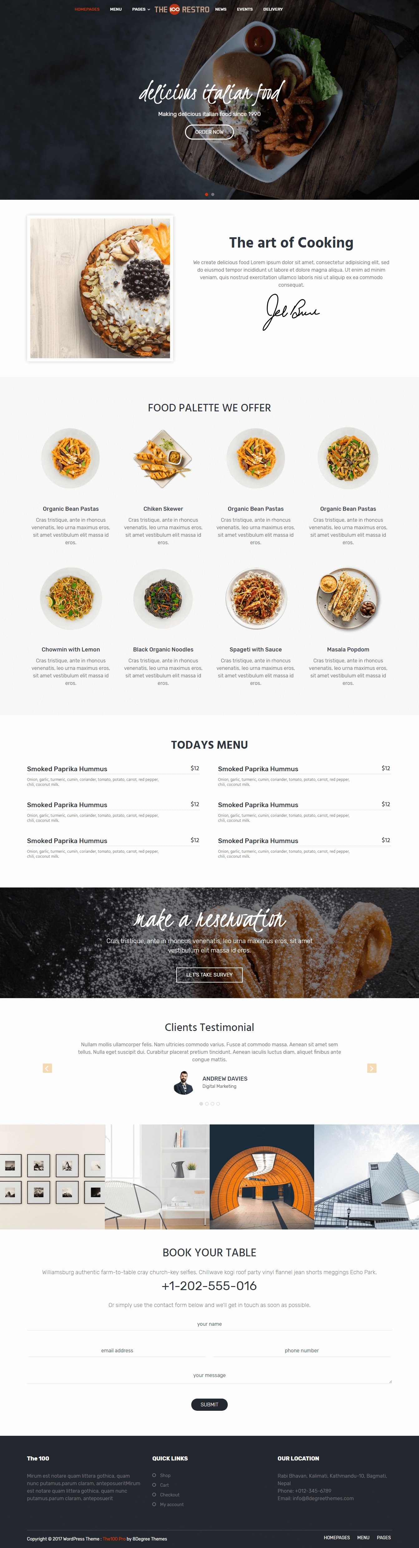 the100 pro clean and elegant multipurpose theme restaurant demo
