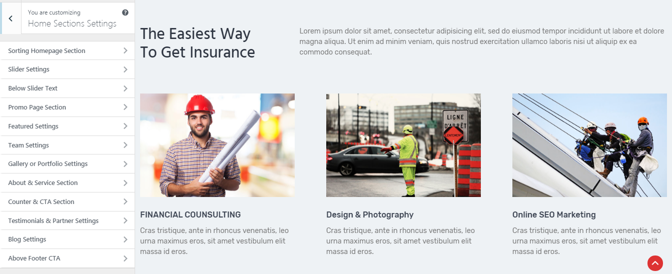 the100-pro-premium-multipurpose-theme-homepage-sections