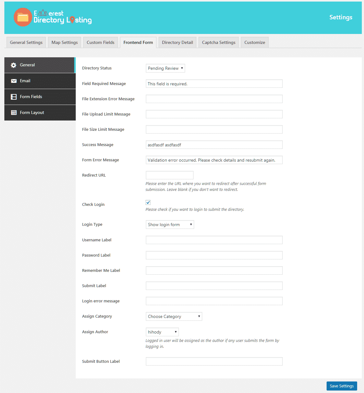 Everest Business Directory: Form General Settings