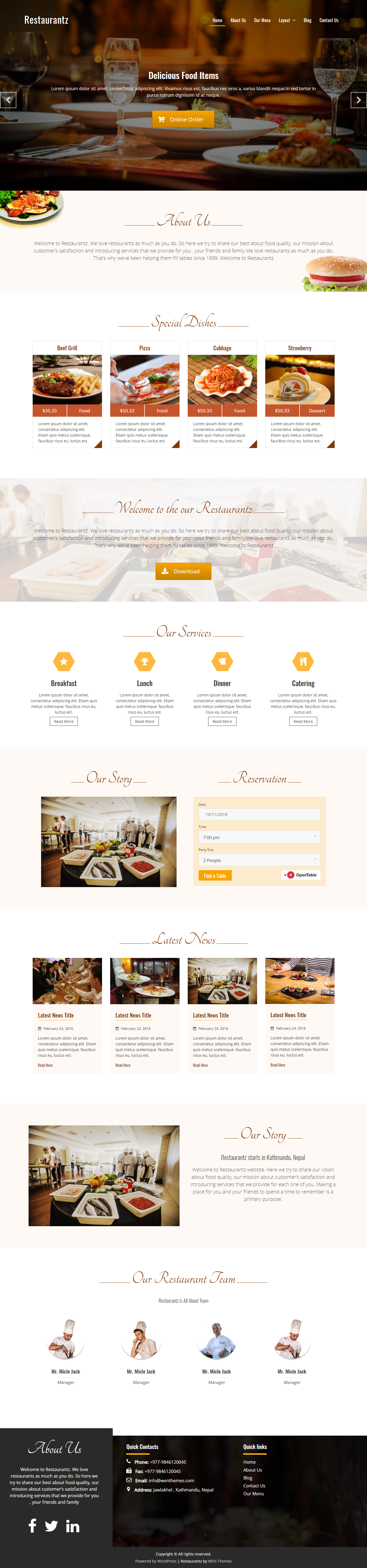 10 Best Free Restaurant Food WordPress Themes Accesspress