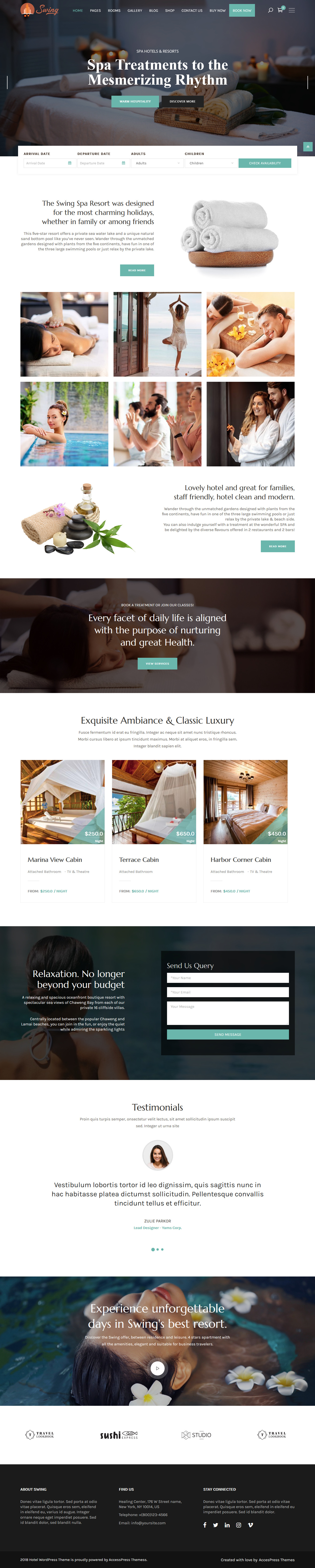 swing hotel and resort wordpress theme demo 2