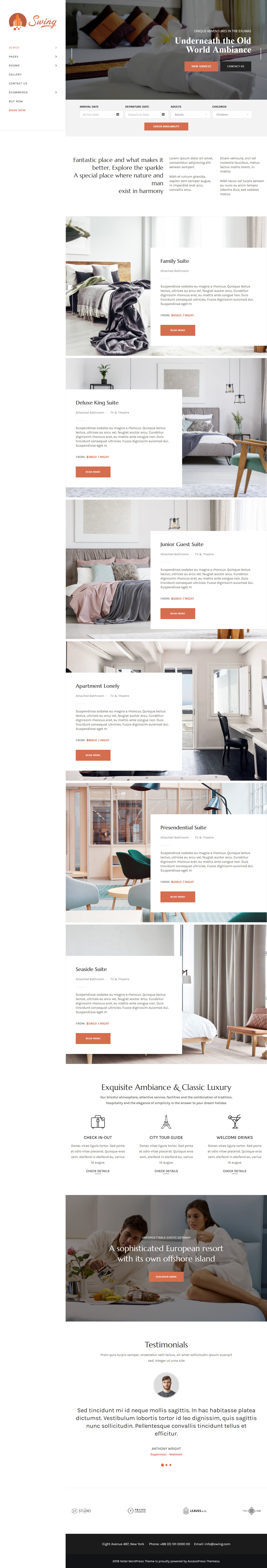 swing hotel and resort wordpress theme demo 3