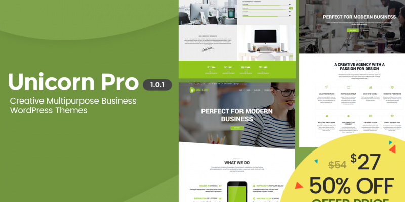Offering 50% free discount offer in Unicon Pro – A Responsive Multipurpose WordPress Theme