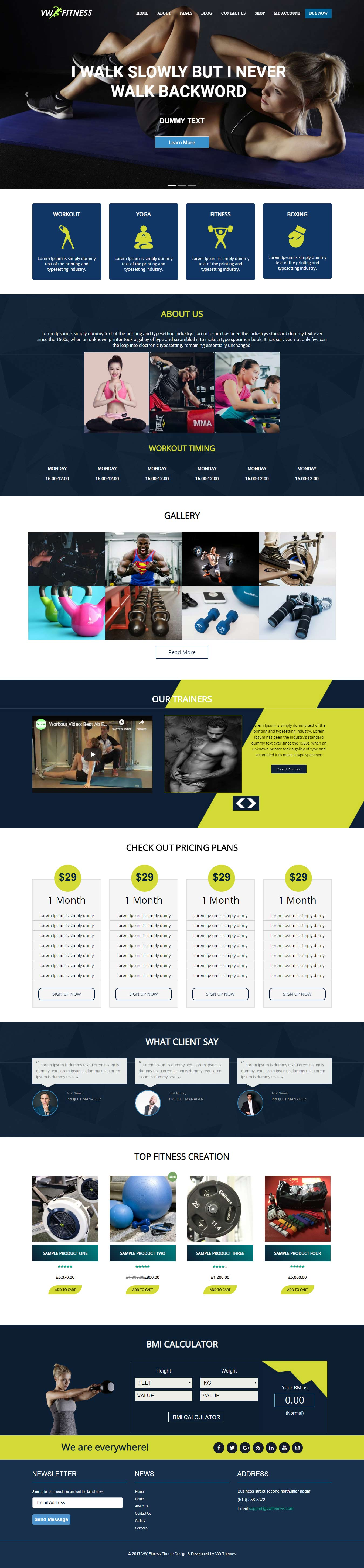 vw fitness best free sports wordpress theme - 10+ Best Free Sports WordPress Themes