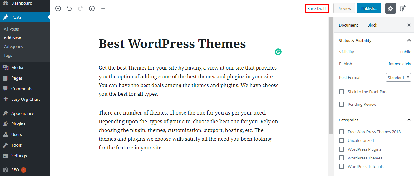 How to save your WordPress post as a draft in your site