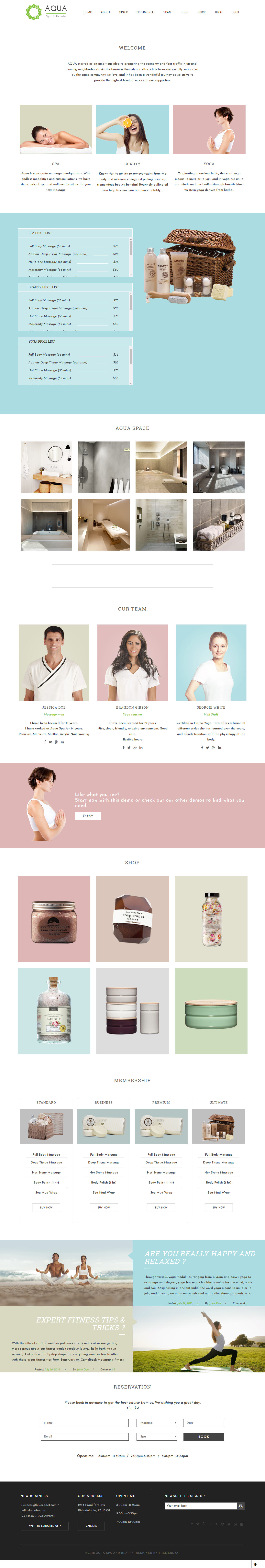 Aqua - Best Premium Spa and Beauty WordPress Theme