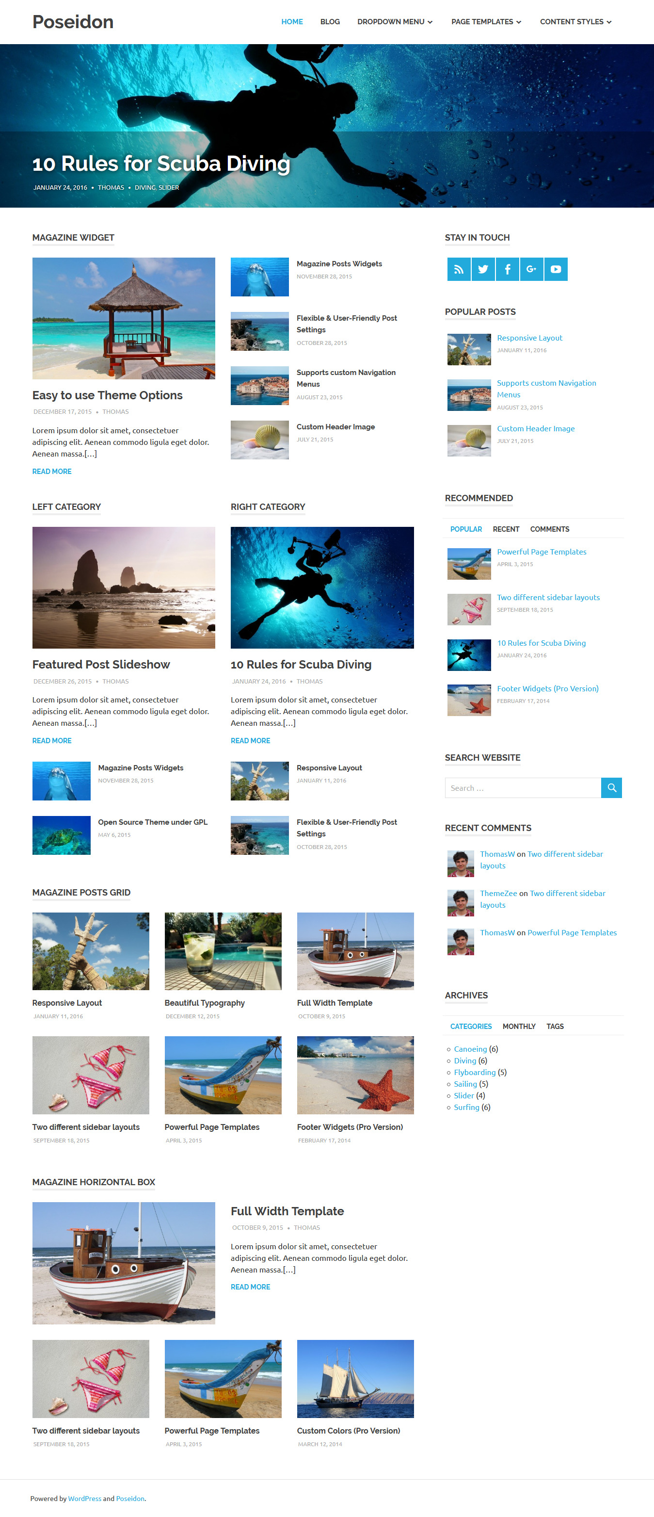 Poseidon - Best Free Fullscreen WordPress Theme