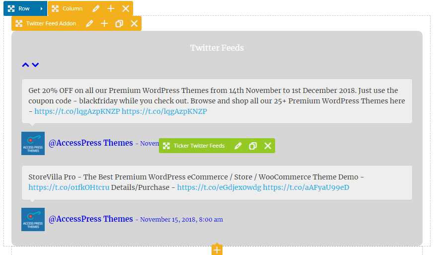 Twitter Feed Addon Frontend Ticker