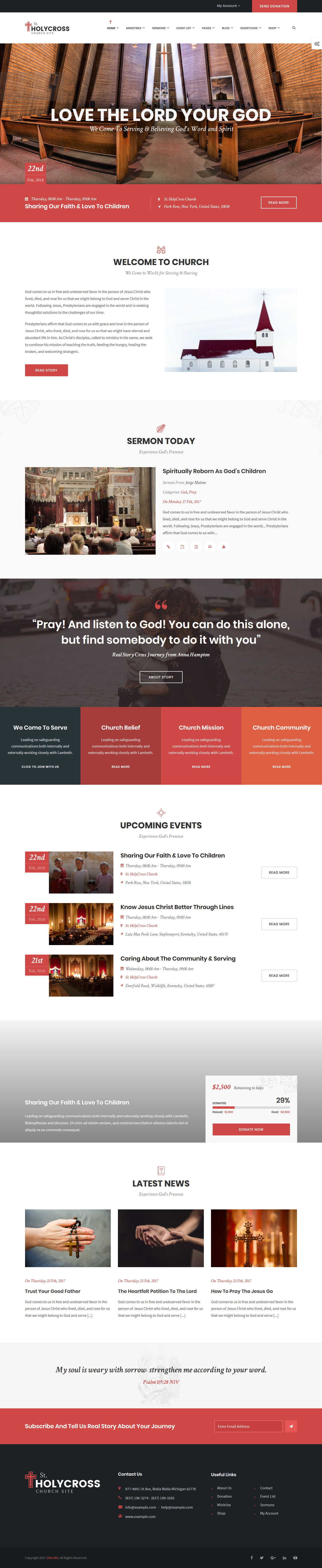 holly cross best premium church wordpress theme - 10+ Best Premium Church WordPress Themes