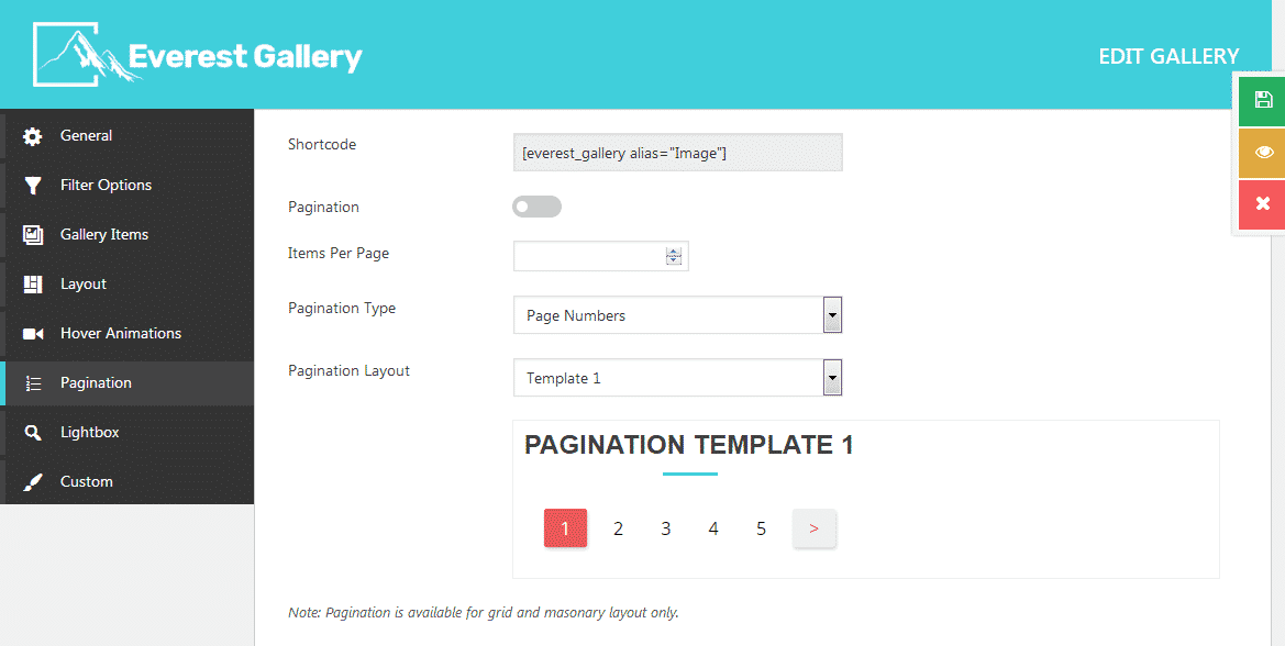 Everest Gallery: Pagination