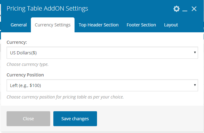 Pricing Table Addon For Visual Composer - Currency Settings