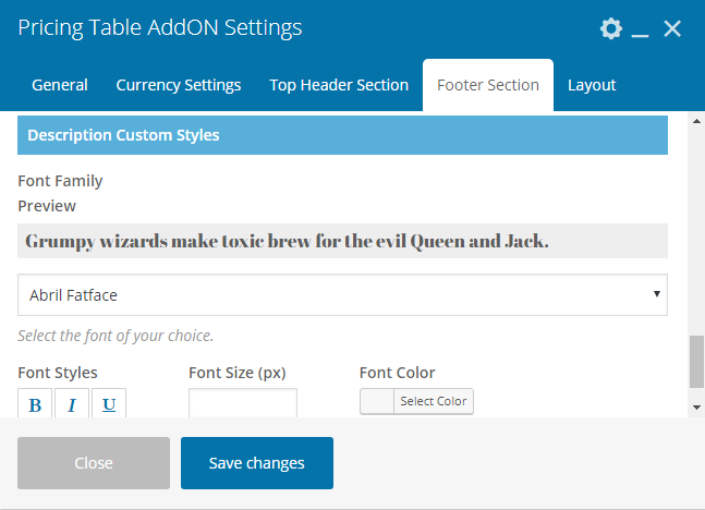 Pricing Table Addon For Visual Composer- Bottom Footer Section Settings