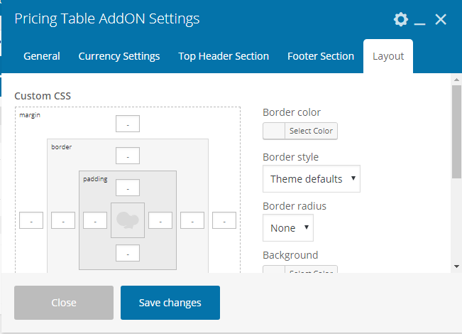 Pricing Table Addon For Visual Composer - Main Layout Settings