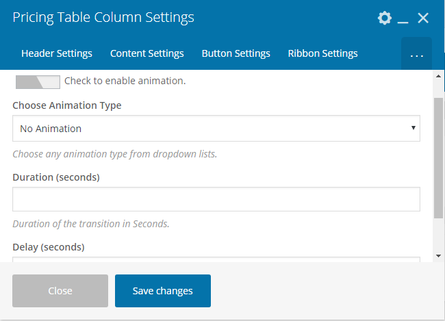 Pricing Table Addon For Visual Composer - Animation Settings