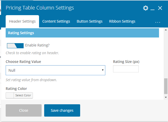 Pricing Table Addon For Visual Composer - Pricing Table Rating Options