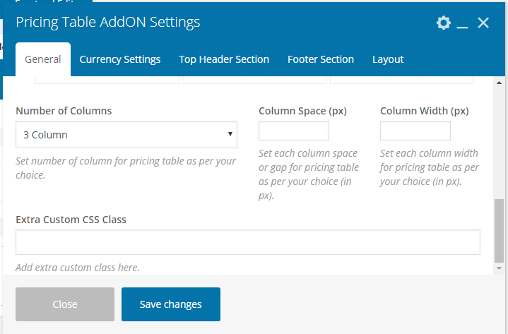 Pricing Table Addon For Visual Composer - Main General Settings Column Options
