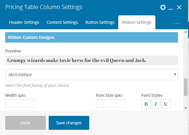 Pricing Table Addon For Visual Composer - Pricing Table Ribbon Custom Fields