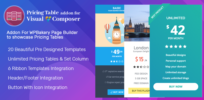 WPBakery AddOn for Pricing Table – Pricing Table AddOn for Visual Composer