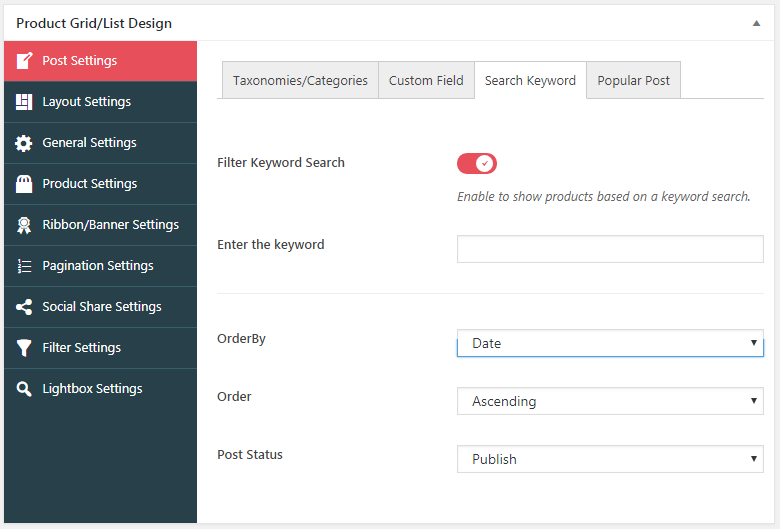 WOO Product Grid/List Design Search